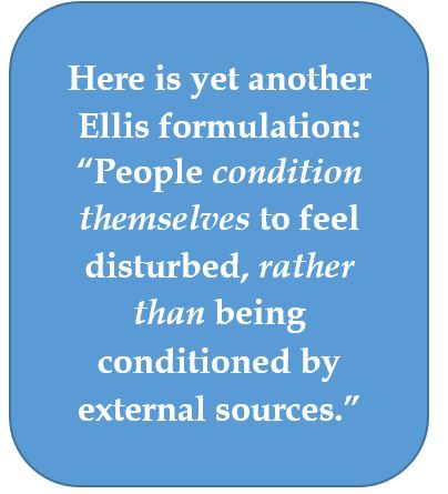 Albert Ellis absolves external pressures from human disturbance
